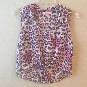 Tops - Vivace Sleeveless sheer leopard print top